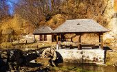 pic of water-mill  - Old water powered corn mill made of wood - JPG