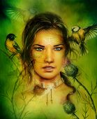 stock photo of airbrush  - beautiful airbrush portrait of a young enchanting woman face with feathers and long dark hair looking directly up with birds on green painting background - JPG