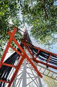 pic of mast  - High mast metal structure telecommunication on tower with blue sky - JPG