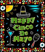 stock photo of mexican fiesta  - Mexican art style Cinco de Mayo poster made with bold colors includes decorative text and Mexican elements on a black background - JPG