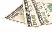 picture of one hundred dollar bill  - one hundred US dollar bills isolated over white - JPG