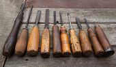 Постер, плакат: Carpenter tools row