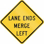picture of merge  - US road warning sign - JPG