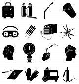 picture of welding  - welding work industrial vector icons set in black - JPG