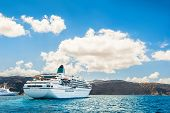 stock photo of greek-island  - Big cruise liners near the Greek Islands - JPG