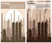 foto of refinery  - Oil refinery or chemical plant silhouette - JPG