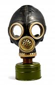 picture of rubber mask  - Black worn gas mask isolated with clipping path over white background - JPG