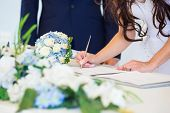 stock photo of signs  - Bride hand with a pen signing wedding license - JPG