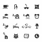 stock photo of owls  - Set of sleep icons on white - JPG