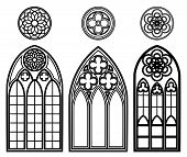 stock photo of gothic  - Gothic windows of cathedrals and castles with roses elements - JPG