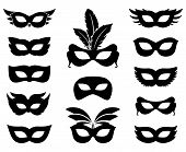 stock photo of anonymous  - Set of carnival mask silhouettes isolated on white - JPG