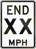 stock photo of mph  - United States End 50 MPH sign Delaware - JPG