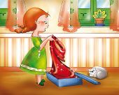 pic of little red riding hood  - Red riding hood with her new red cap - JPG