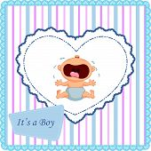 stock photo of crying boy  - Vector illustration of Cartoon baby boy crying card - JPG
