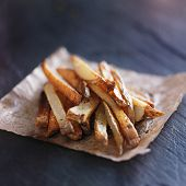 picture of slating  - home made potato fries on slate - JPG