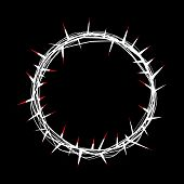 stock photo of crown-of-thorns  - An illustration of a symbolic crown of thorns adorned by Christ with His red blood - JPG