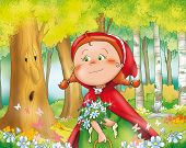 stock photo of little red riding hood  - Little Red Riding Hood with blue flowers in the wood - JPG