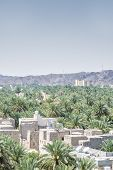 stock photo of oman  - View from the fort to buildings and palms of the town Nizwa Oman - JPG