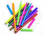 stock photo of marker pen  - Colorful markers pens Multicolored Felt Pens draw line - JPG