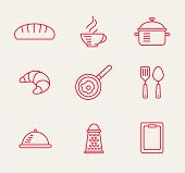 stock photo of bast  - cookery kitchen icon bast set best illustrations in a modern style - JPG