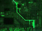 Backlit Computer Circuit Board Background