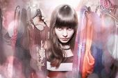 image of thrift store  - dangerous teenage girl with her wardrobebacklit bokeh and light leaks - JPG