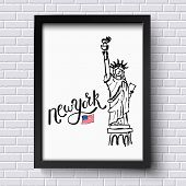picture of statue liberty  - Advertising poster vector design for New York city with a hand - JPG