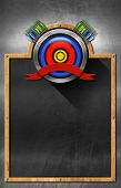 stock photo of fletching  - Empty blackboard with wooden frame and metallic archery symbol - JPG