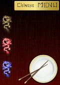 pic of chinese menu  - vector illustration of a Chinese menu on the background of dragons and chopsticks - JPG