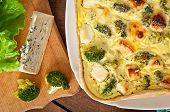 image of lenten  - Tasty Quiche with broccoli and feta cheese - JPG