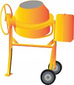 pic of mixer  - An Orange Cement Mixer isolated on White - JPG