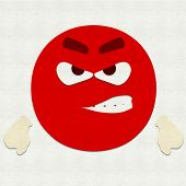 pic of angry smiley  - Felt illustration of an emoticon very angry - JPG