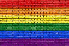 picture of transgendered  - flag of the LGBT movement painted on brick wall - JPG