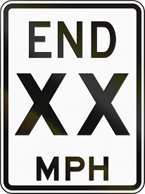 image of mph  - United States End 50 MPH sign Delaware - JPG