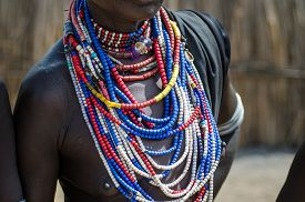 picture of ethiopia  - Necklaces of a Arbore tribe woman from Omo valley Ethiopia - JPG