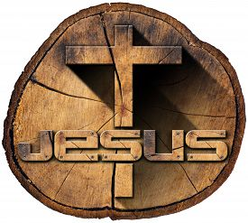 pic of christianity  - Wooden Christian cross on a section of tree trunk with text Jesus isolated on white background - JPG