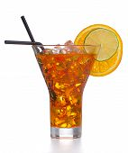 pic of iced-tea  - Fresh and cold ice tea with sliced orange isolated on white background - JPG
