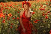 image of headband  - fashion outdoor photo of beautiful sexy girl with blond hair in elegant dress and flower - JPG