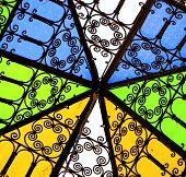 stock photo of quadrangles  - colored glass and sun in morocco africa window and light - JPG