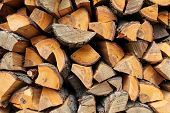 image of firewood  - dry chopped firewood in a pile Background - JPG