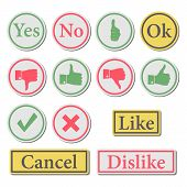 foto of confirmation  - Set of stylish buttons symbols like and dislike confirmation and cancel vector illustration - JPG