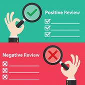 stock photo of positive negative  - Business hand with right and wrong in magnifying glass background - JPG