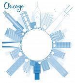 stock photo of skyscrapers  - Outline Chicago city skyline with blue skyscrapers and copy space - JPG