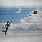 image of kites  - Silhouette of teenager girl playing with flying kite - JPG