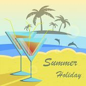 picture of dolphins  - Summer holidays vector illustration set with cocktails - JPG