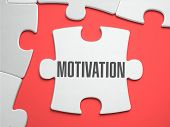 Постер, плакат: Motivation Puzzle on the Place of Missing Pieces