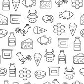 picture of milk products  - Seamless background with modern cute hand drawn outline objects with products containing animal protein and prohibited for vegans - JPG