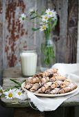 pic of bagel  - Homemade bagels with nuts  on wooden table - JPG