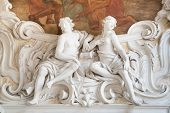 pic of vicenza  - White stone sculptures of the baroque Leone Montanari palace 1678 in Vicenza - JPG