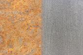picture of half  - half rust half clean surface  on the steel plate - JPG